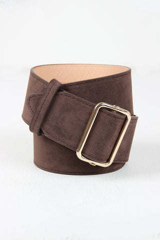 Simple Vegan Suede Wide Belt