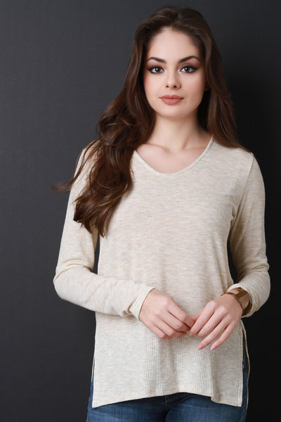 High Low Square Hem Scoop Neck Sweater