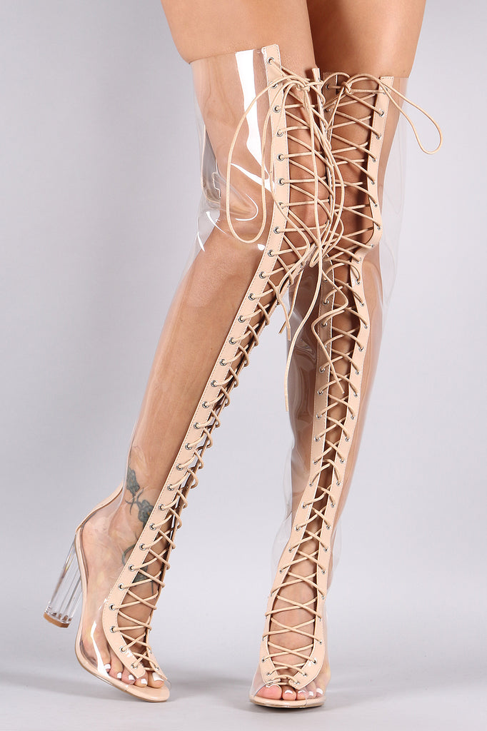 2a719245e4 Clear Lace Up Chunky Heeled Over-The-Knee Boots – Purposed By Design ...