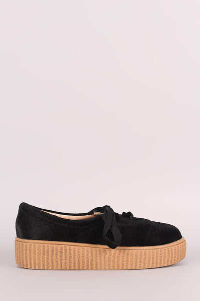 Velvet Round Toe Lace Up Flatform Creeper Sneaker