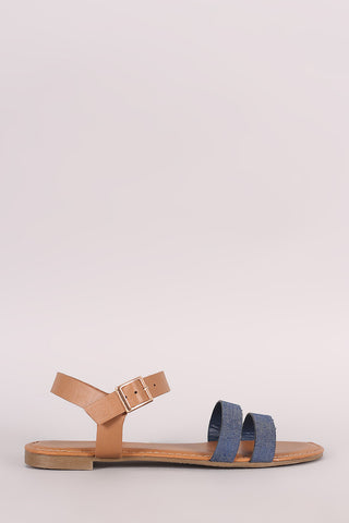 Bamboo Denim Double Band Ankle Strap Flat Sandal