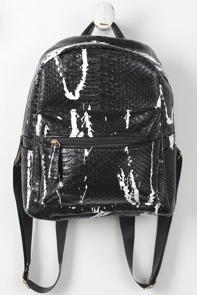 Faux Snakeskin Splattered Paint Mini Backpack