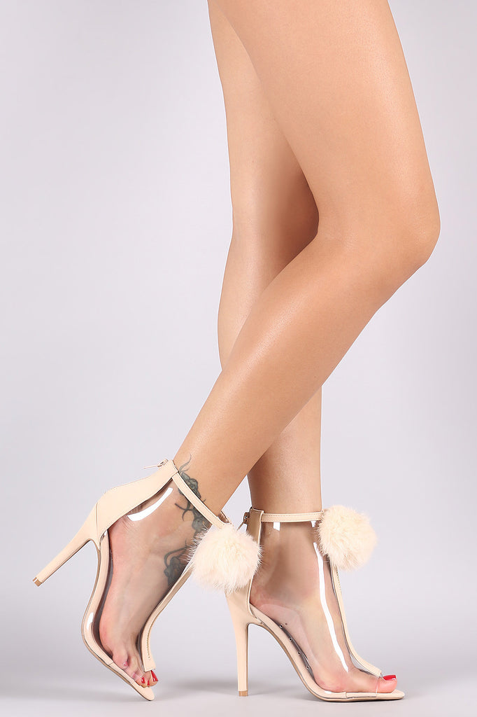 e96cdd1592e8 Qupid Pom Pom Lucite Peep Toe Ankle Booties – Purposed By Design (Honey  Skies)