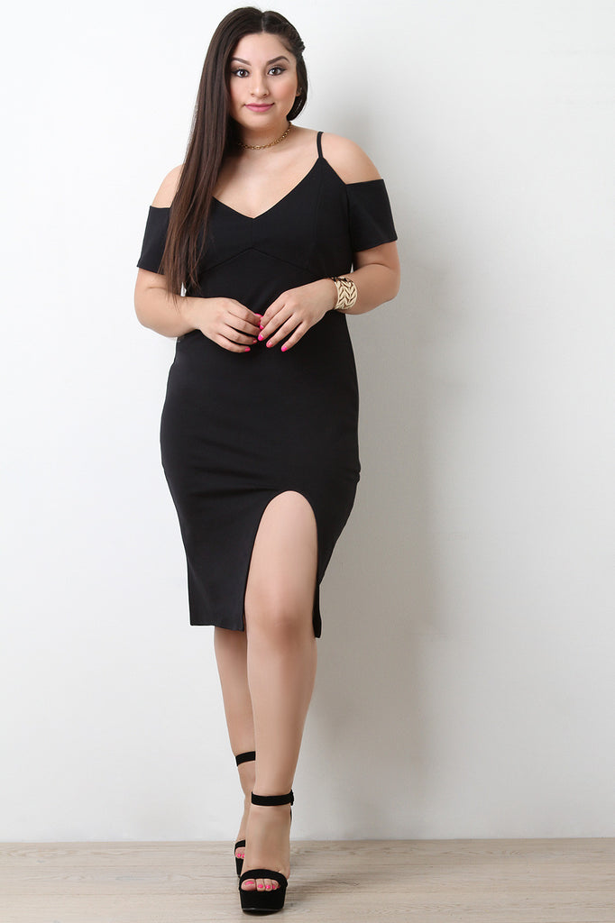 813df57271c85 Thick Knit Cold Shoulder Front Slit Midi Dress – Purposed By Design (Honey  Skies)