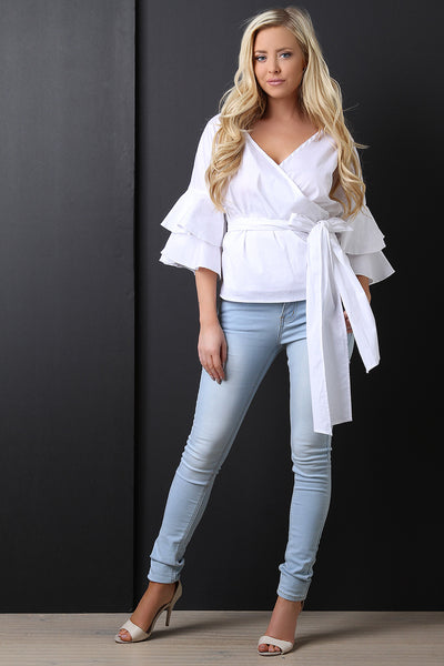 fe2afa2241 Surplice Layer Ruffle Sleeves Waist-Tie Blouse Top