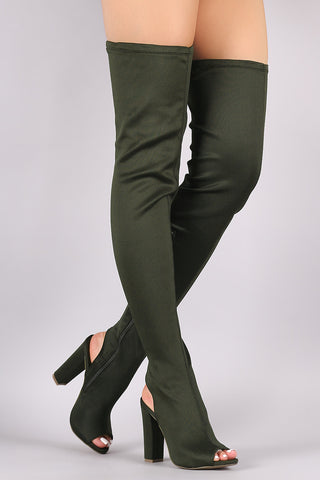 Bamboo Fitted Elastane Chunky Heeled Over-The-Knee Boots