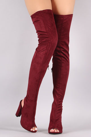 Bamboo Fitted Suede Chunky Heeled Over-The-Knee Boots