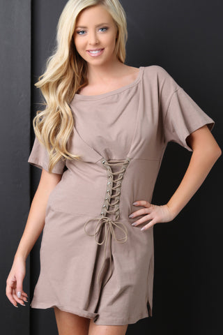 Boat Neck Corset Oversized T-Shirt Dress