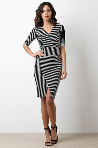 Asymmetrical Stripe V-Neck Midi Dress