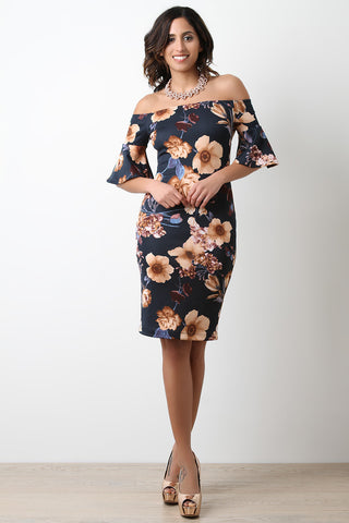 Bell Sleeves Floral Bodycon Bardot Dress
