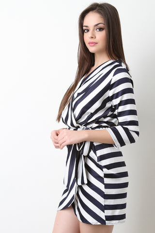 Asymmetrical Striped Surplice Satin Mini Dress