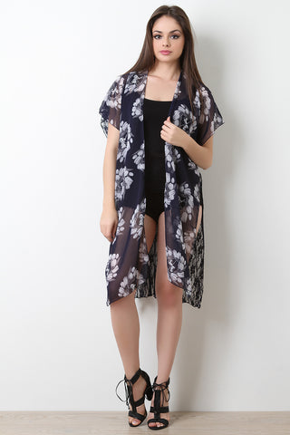 Lace Back Floral Chiffon Short Sleeve Kimono Top