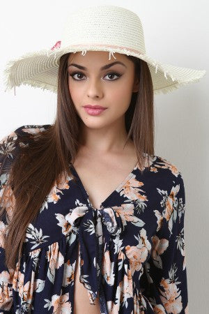 Floral With Cord Trim Straw Sun Hat