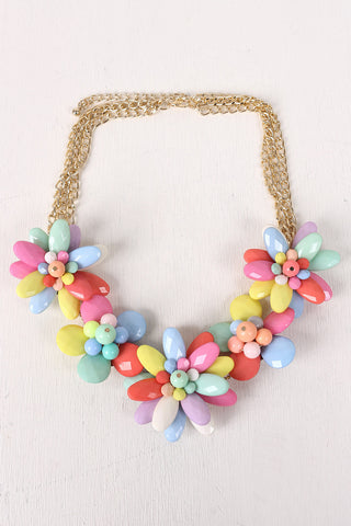 Colorful Floral Statement Bib Necklace