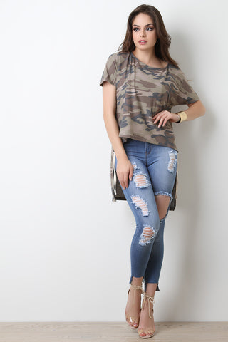Camouflage Dolman High-Low Top