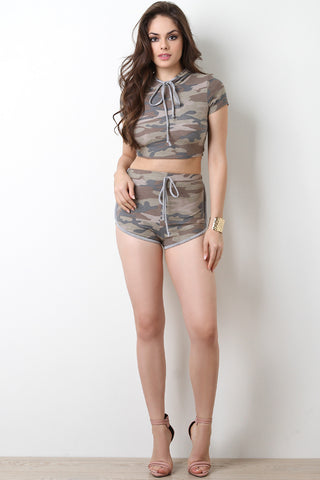 Camouflage Terry Cloth Running Shorts