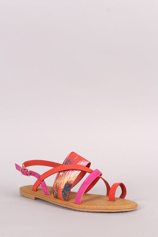 Bamboo Colorblock Strappy Toe Ring Slingback Flat Sandal