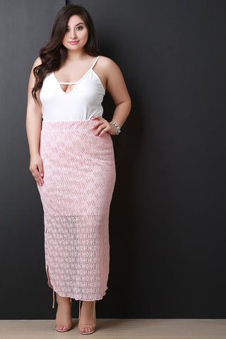 Crochet Side Slit Maxi Skirt
