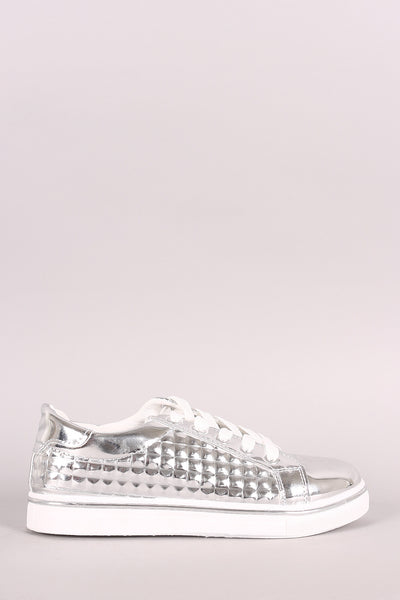 Qupid Patent Metallic Pyramid Sneakers