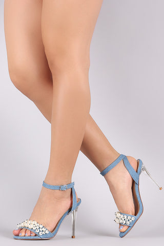 Faux Pearl Denim Ankle Strap Stiletto Perspex Heel