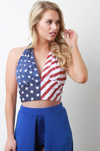 Stars and Stripes Halter Crop Top