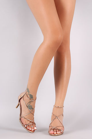Bamboo Metallic Crisscross Strappy Stiletto Heel