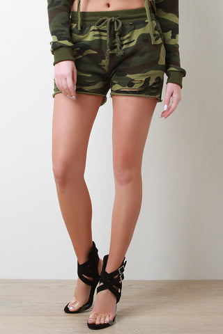 Camouflage Distressed Terry Knit Mid Rise Shorts