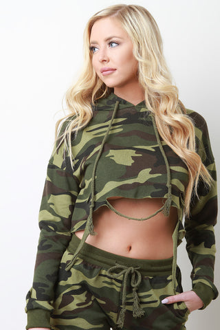 Camouflage Draped Distressed Terry Knit Hooded Crop Top