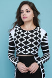 Diamond Pattern Strap Crop Top With Bandage Pencil Skirt
