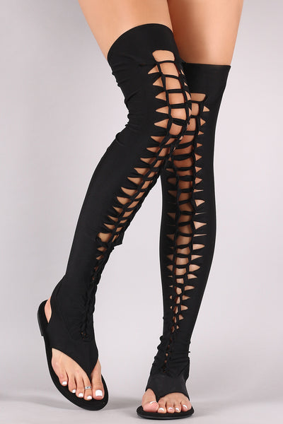297c99b96d11 Suede Elastane Thigh High Braided Cutout Gladiator Flat Sandal – Purposed  By Design (Honey Skies)
