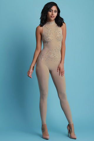 Bedazzled Mesh Mock Neck Fitted Jumpsuit