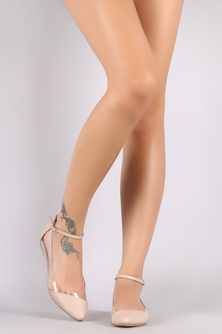 Bamboo Clear Ankle Strap Ballet Flat