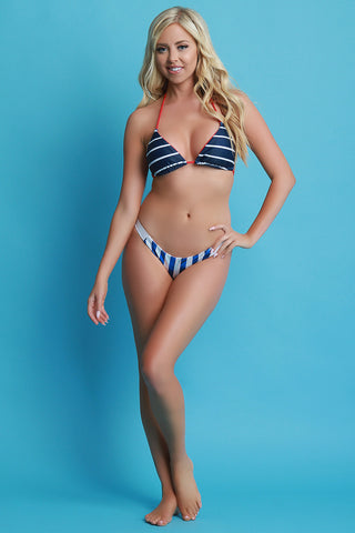Banded Striped Reversible Bikini Bottom