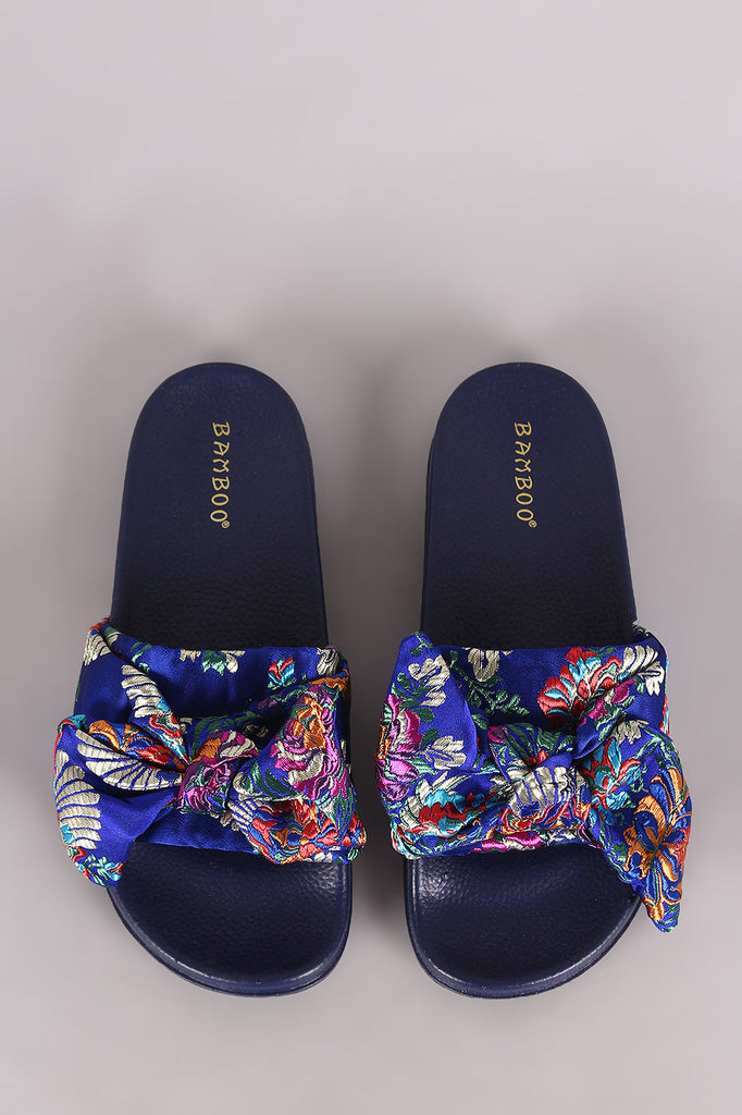 3d055c296c8 Bow Bow Bow Sandal Embroidered Satin Bamboo Brocade Slide qwT6AptP