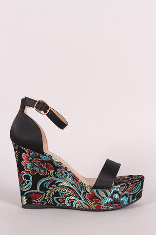 Bamboo Satin Ankle Strap Embroidered Brocade Platform Wedge