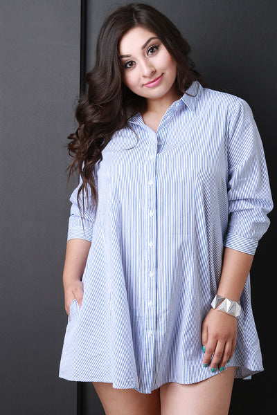 Vertical Pinstripe Button Up Shirt Dress