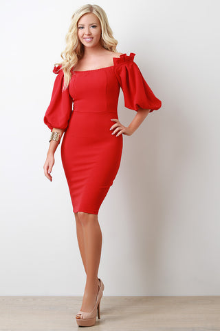 Balloon Sleeves Off-The Shoulder Midi Dress