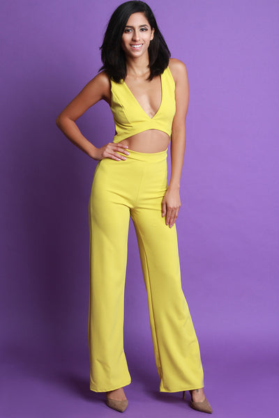 Sleeveless V-Neck Open Midriff Wide Leg Jumpsuit