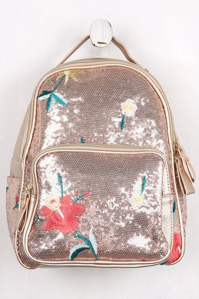 Sequin Floral Embroidery Mini Backpack