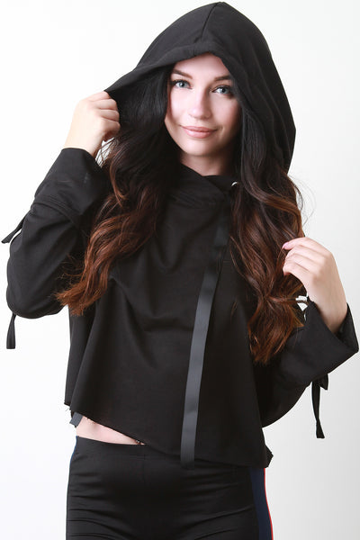 Clasp Strap Long Sleeve Cut Out Raw Boxy Hoodie