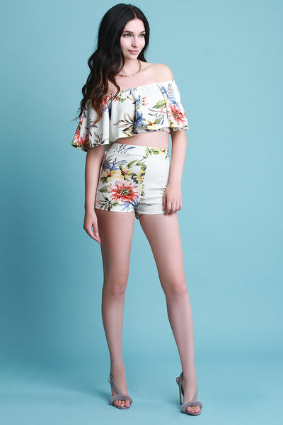 Floral Flutter Bardot With High Waisted Shorts Set