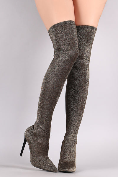 763b4e104c68 Liliana Glitter Knit Pointy Toe Stiletto Over-The-Knee Boots – Purposed By  Design (Honey Skies)