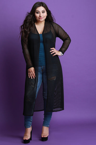 Semi-Sheer Fishnet Maxi Cardigan