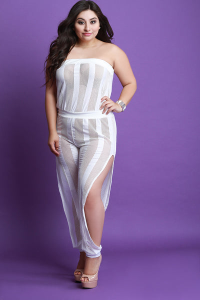 Striped Fishnet Slit Leg Tube Jumpsuit