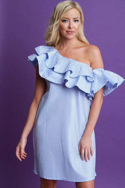 Striped One Shoulder Tiered Ruffle Shift Dress
