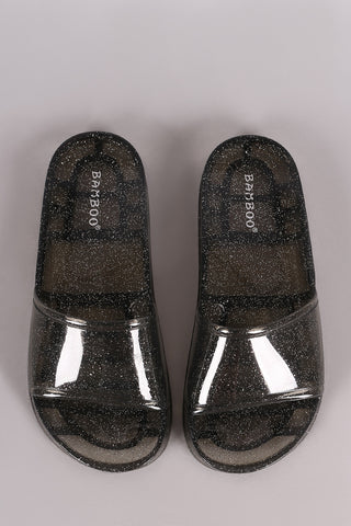 Bamboo Glitter Jelly Open Toe Slide Sandal