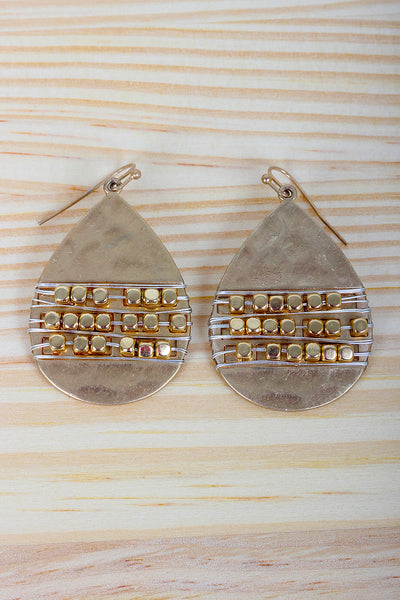 Hammered Beaded Teardrop Earrings