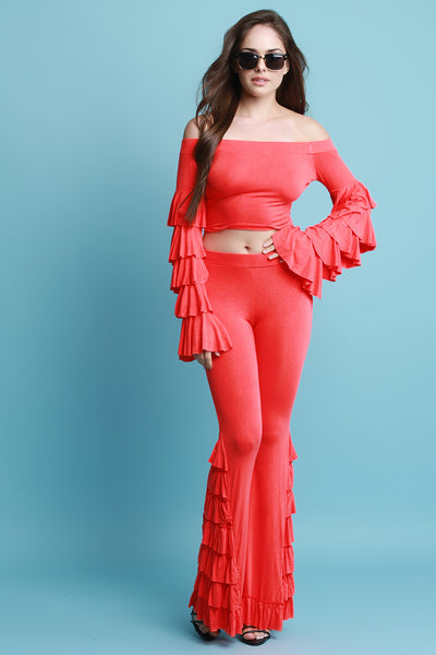 Tiered Ruffle Statement Sleeve Top With High Waisted Pants Set