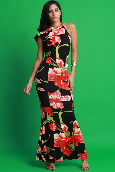 Floral Print Mock Neck Mermaid Maxi Dress
