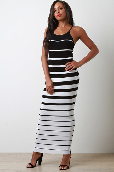 7fe24ba970 Striped Ribbed Knit Crisscross Back Maxi Dress – Purposed By Design (Honey  Skies)